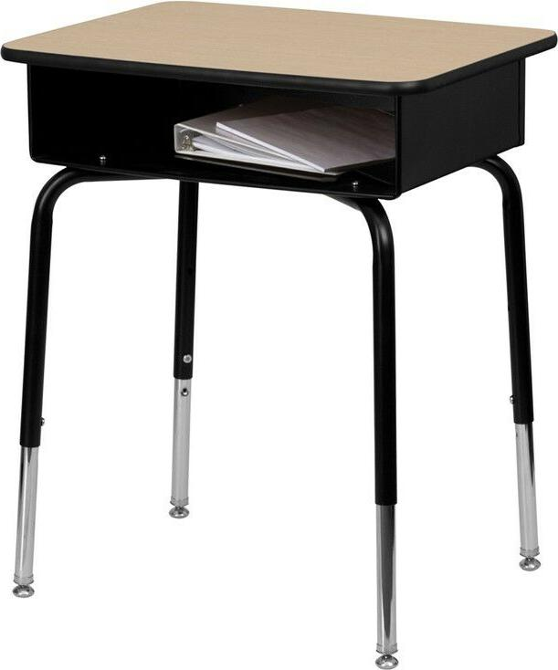 student desk with open front metal book