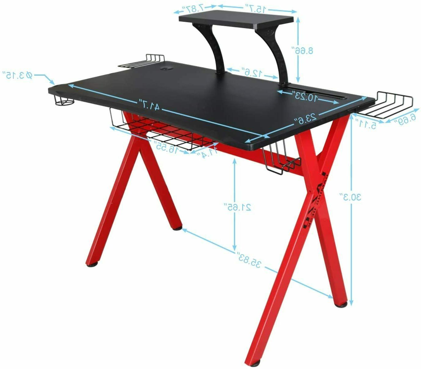 Stylish Gaming Desk Music PC Table, Red
