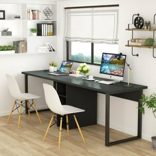 78'' Large Two Person Office Desk with Shelf Home Office Dou