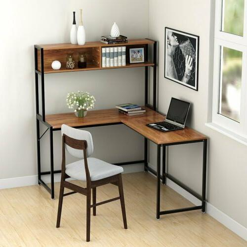 L Desk with Hutch Computer Office Home