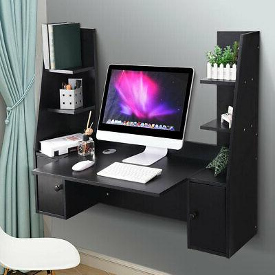 wall mounted floating computer desk wood hanging