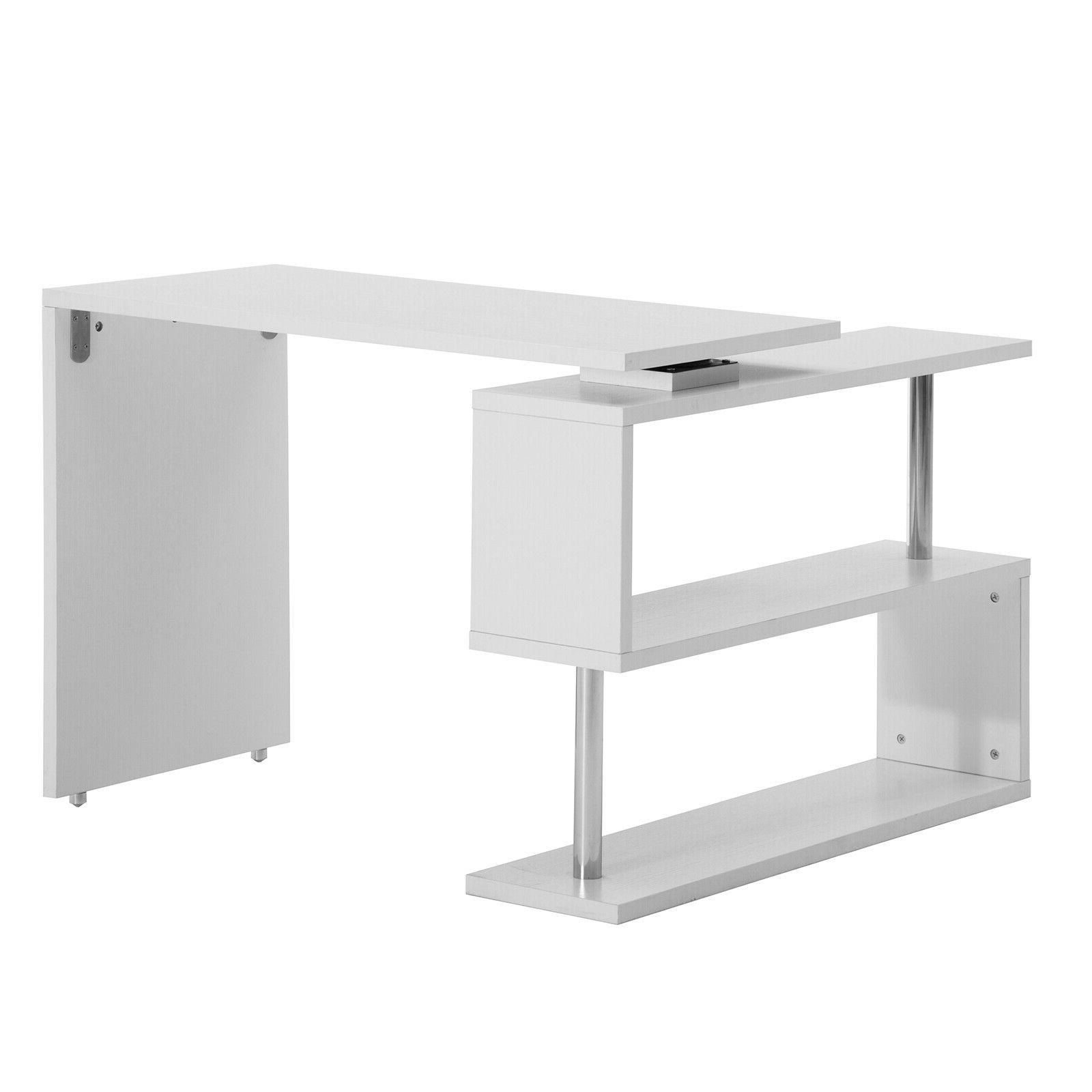 White Corner Rotating L Shape Study PC Furniture