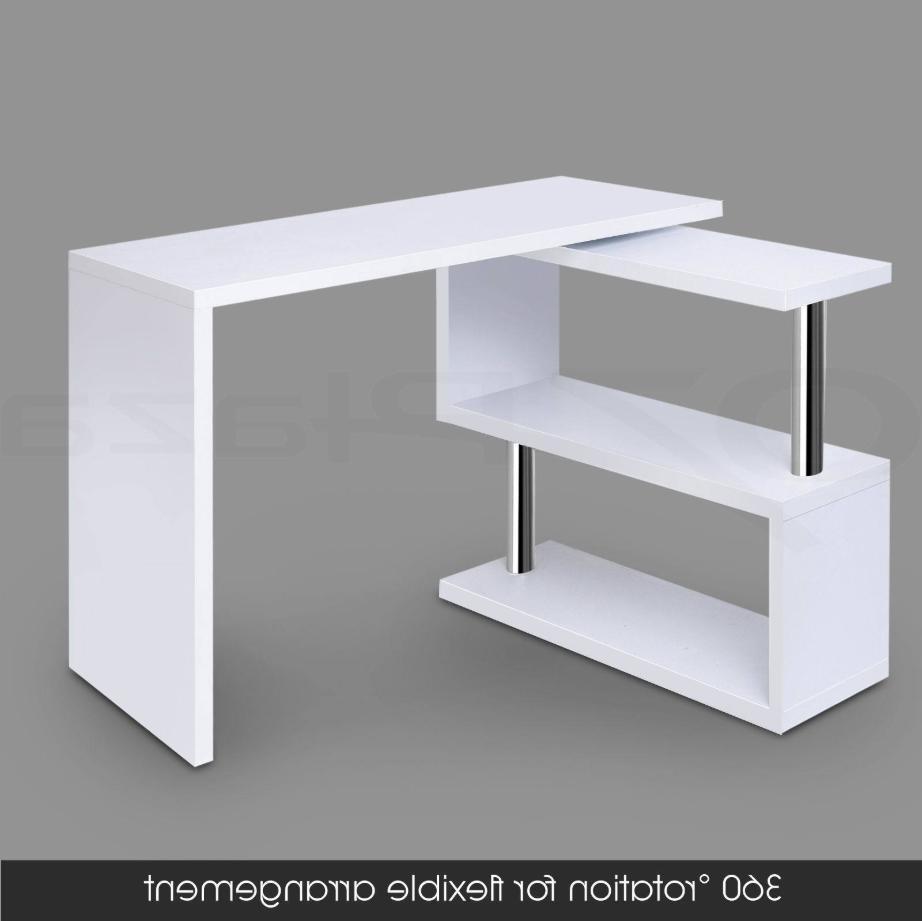 White Rotating Study PC Table Furniture