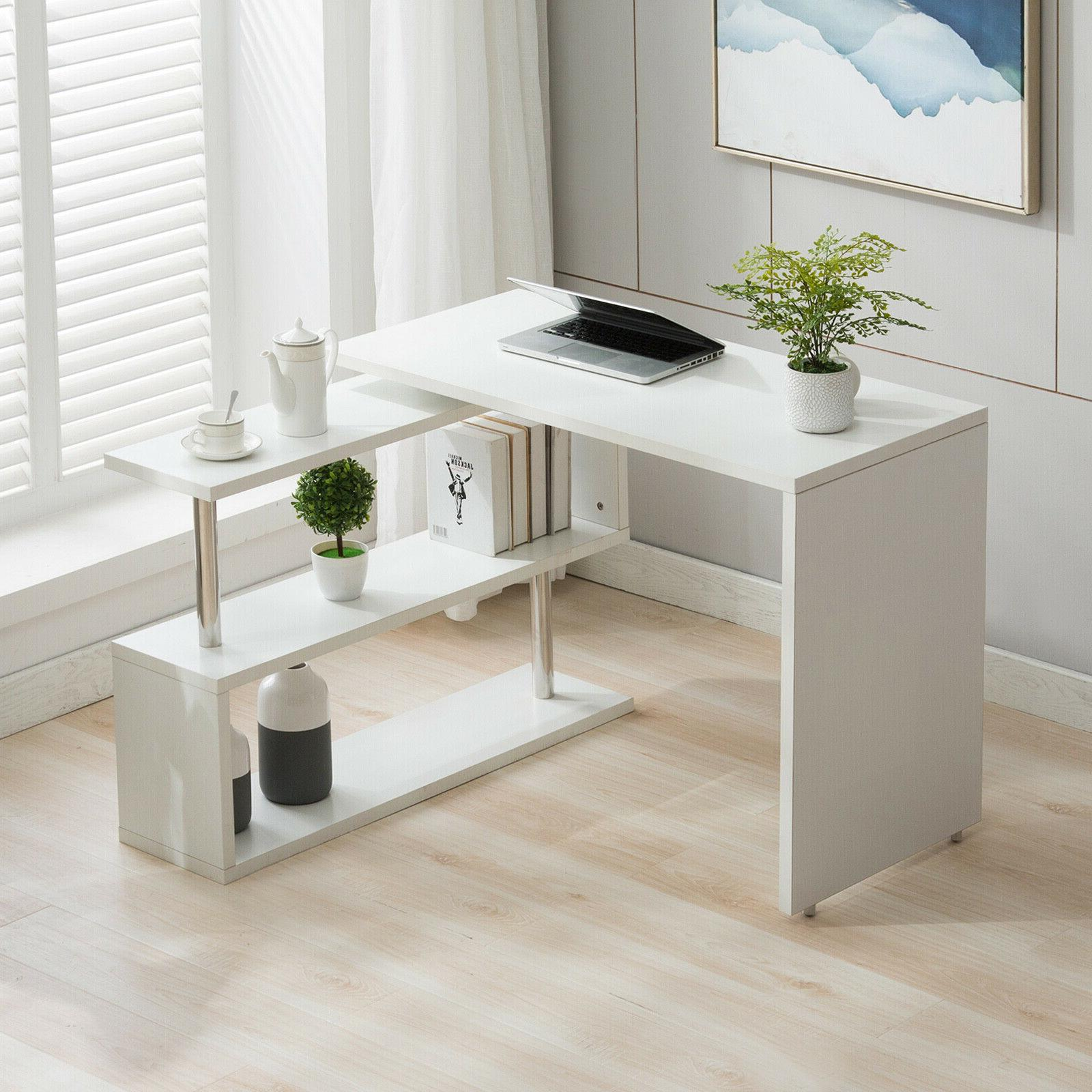 White Rotating L Study Furniture