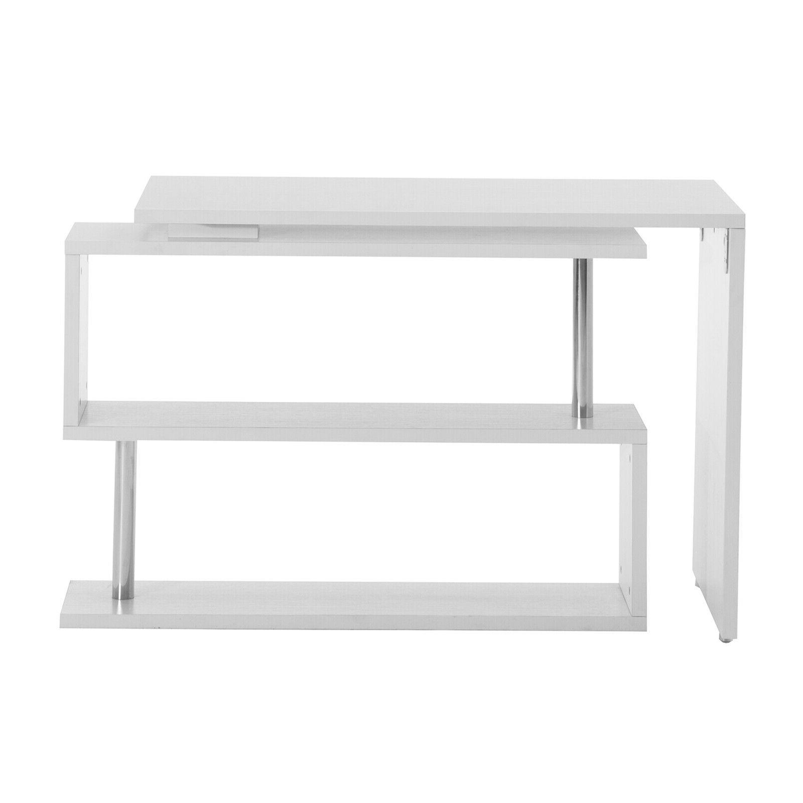 White Rotating Shape Study Table Furniture