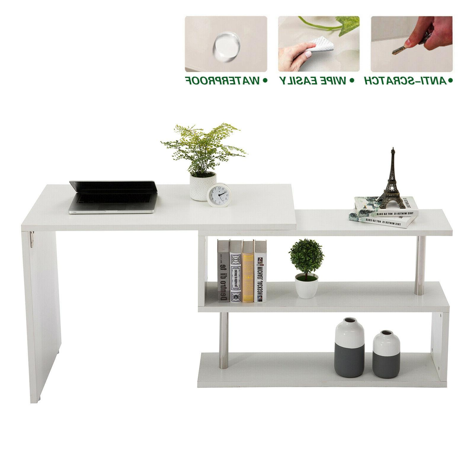 White Corner Rotating Shape Study PC Table Home