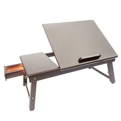 Wood Tray Table Drawer Bed Food Laptop Brown Color