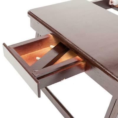 Wood Lap Desk Tray Table Drawer Bed Food Laptop Brown Color