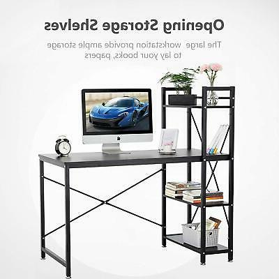 Wooden Corner Home Office PC Table H Shaped 4