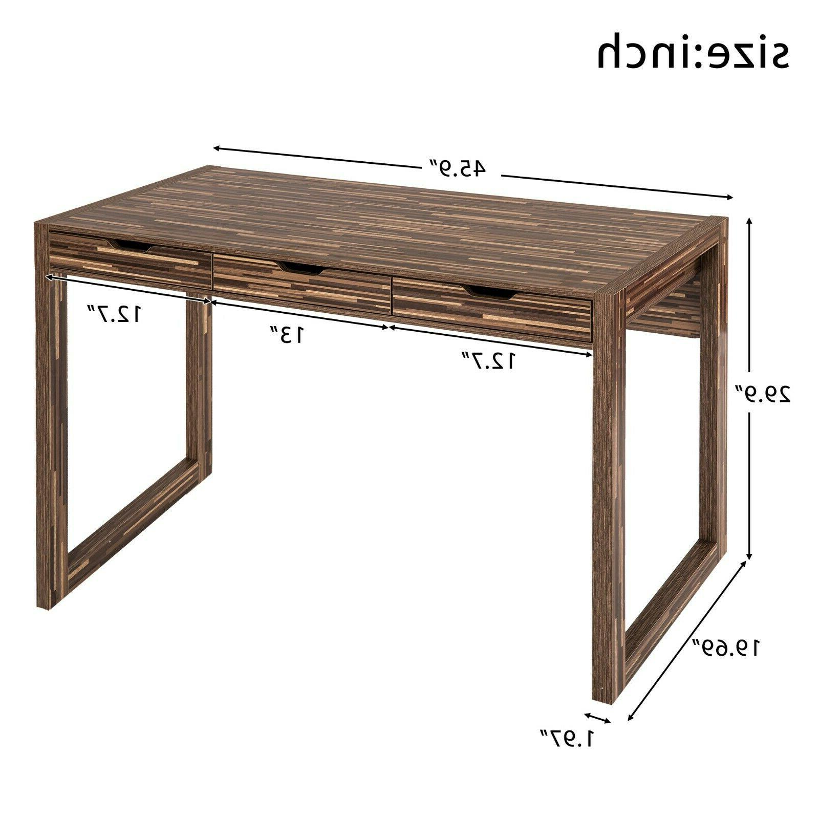 Writing Desk with Drawers Brown