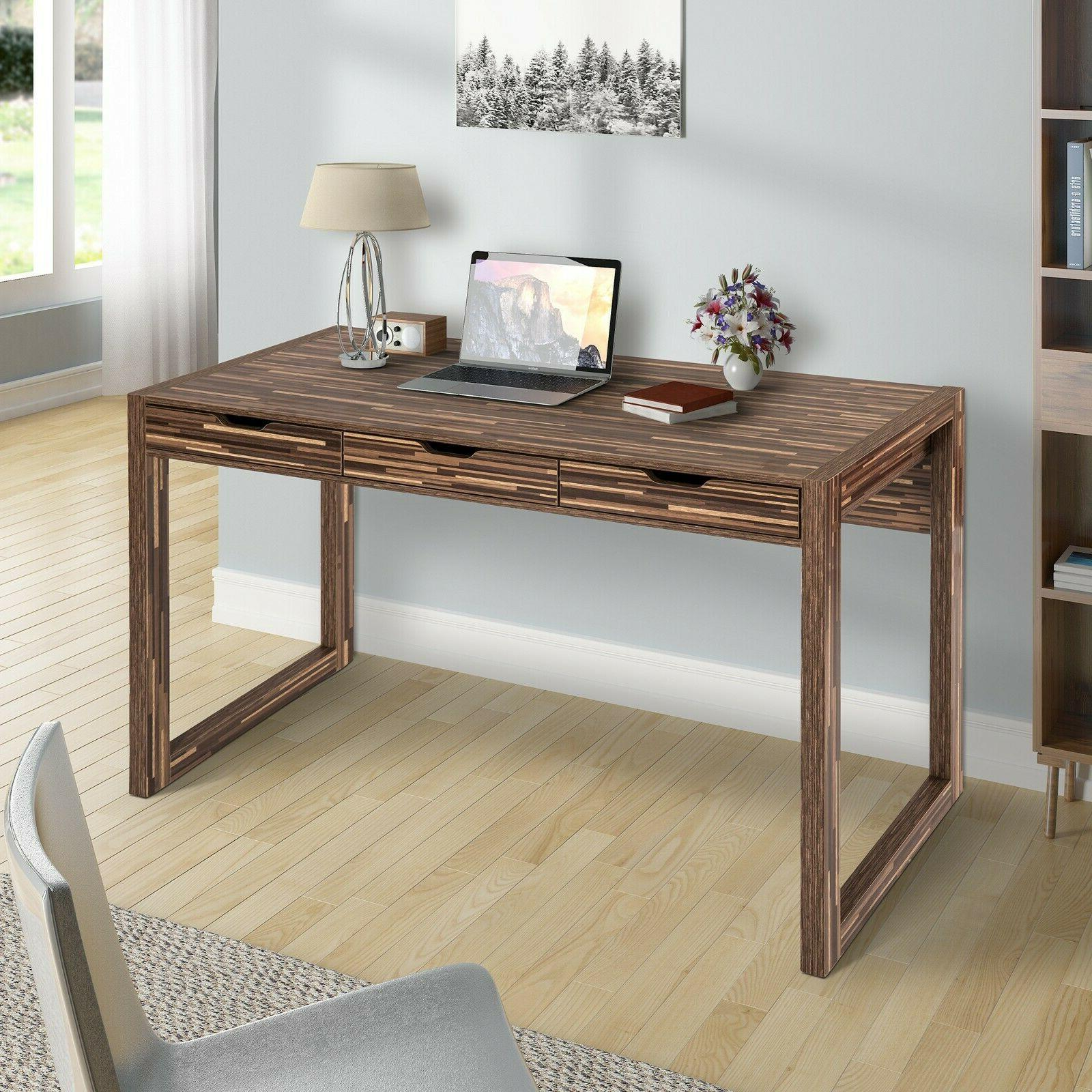 writing desk with 3 drawers in brown