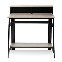 Simplistic Computer Desk with Built-in Hutch, Black / French
