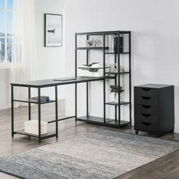 Metal Home Office Computer Desk with Storage shelves modern