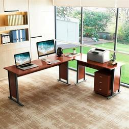 Modern Style L-Shaped Desk Corner Table for Home Office Wood