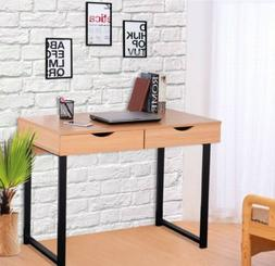 Modern Tan Wood Computer Desk with 2 drawers