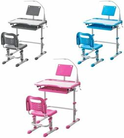 New 3 Color Student Desk and Chair Set Adjustable Kid Child