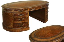 NEW in BOX~ Mahogany & Walnut Traditional Oval Leather Top P