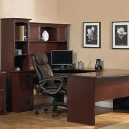 NEW U-Shaped Office Executive Desk WITH Hutch, Cherry ,FREE