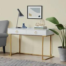 Office Two-Drawers Computer Desk Vanity Table, Wood And Meta