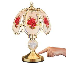 Collections Etc Poinsettia Glass Shade Desk Touch Lamp