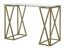 Theresa Glass Top Desk in Clear and Gold