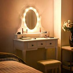Vanity Mirror with Lights and Table Stool Set Makeup Dressin