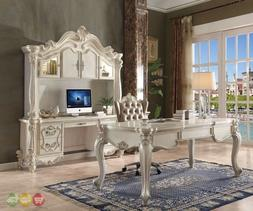 Versailles Traditional Executive 2pc Home Office Set In Bone