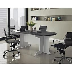 White Gray 4 Piece Component Conference Desk Home Office Liv