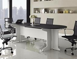 White Gray 4 Piece Large Component Conference Desk Home Offi