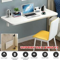 White Wall Mount Floating Folding Computer Desk Home Office